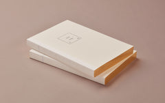 White Block A5 Notebook, with Gold edges