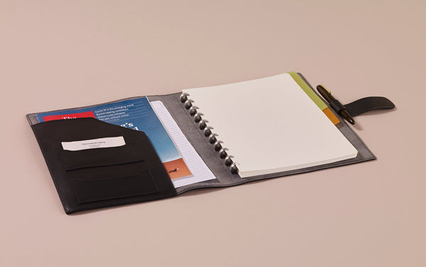 Black Atoma Leather Notebook Folder