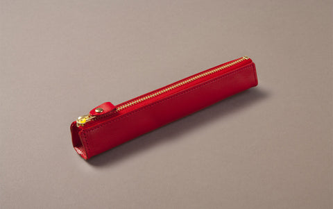 Red Leather Slim Pen Case
