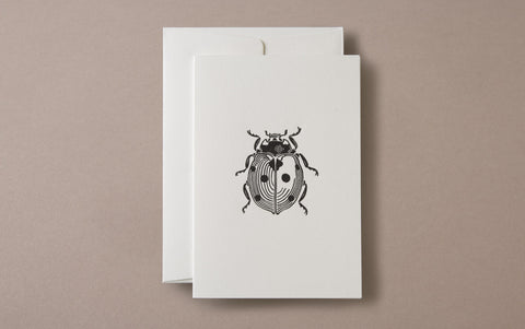 Linocut Print Ladybug Insects Greeting Card