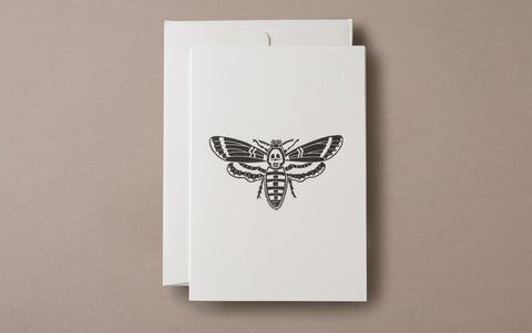 Linocut Print Death's-head Hawkmoth insects greeting card