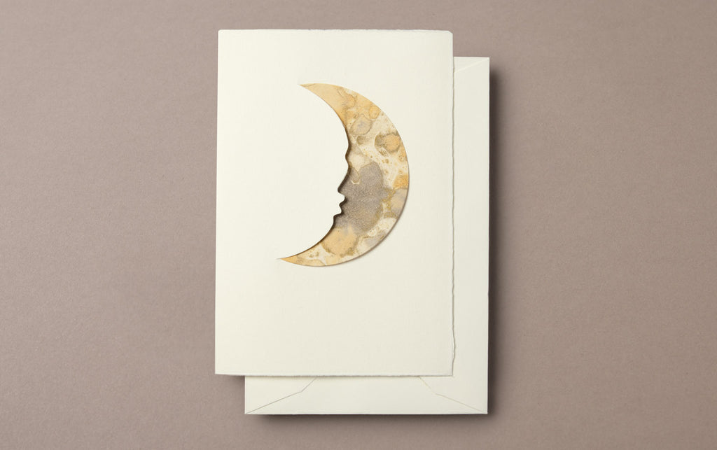 Yellow Marble Moon A6 Greeting Card