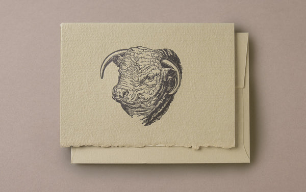 Letterpress Bull Greeting Card