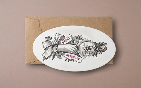 Letterpress Merci Beaucoup Greeting Card