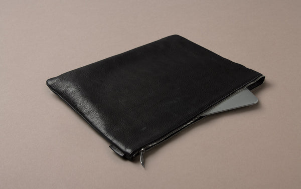 Black Leather Document and Laptop Case
