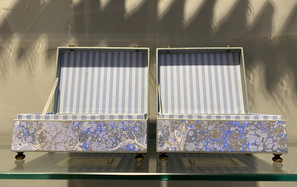 Ann Hepper Decorative Box, Pair of Blue Marble