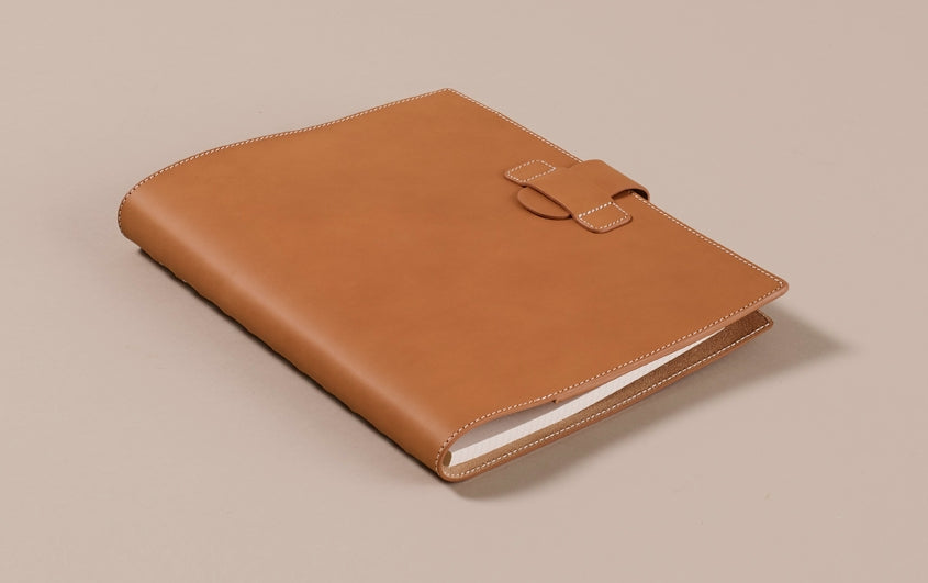 Tan Atoma Leather Notebook Folder