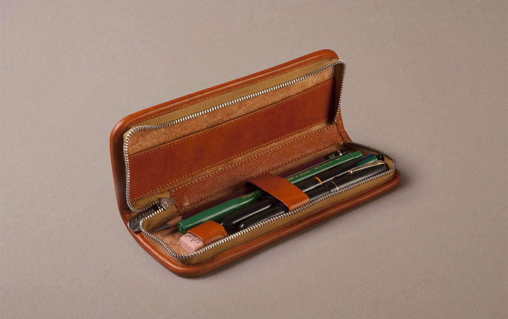 Tan Small Leather Pencil Case