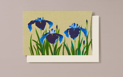 Gold Foild Three Irises Greeting Card