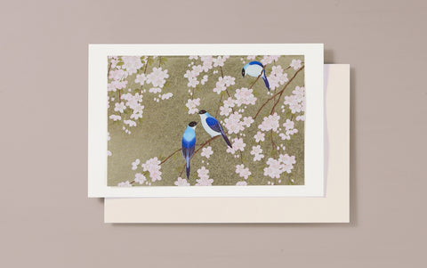 Gold Foil Blue Birds Greeting Card