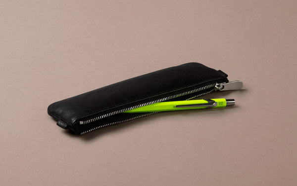 Black Leather Small Pencil Case