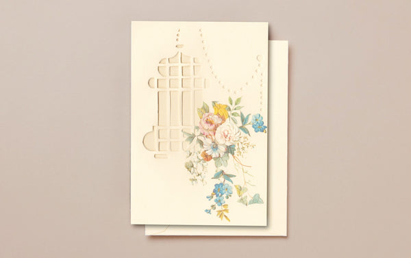 Cream Die Cut Greeting Card, Lantern
