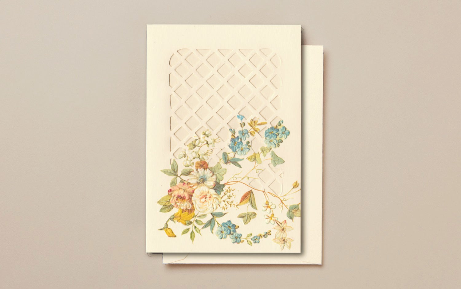 Cream Die Cut Greeting Card, Trellis