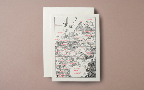 Letterpress Nature Tall Peaks Greeting Card