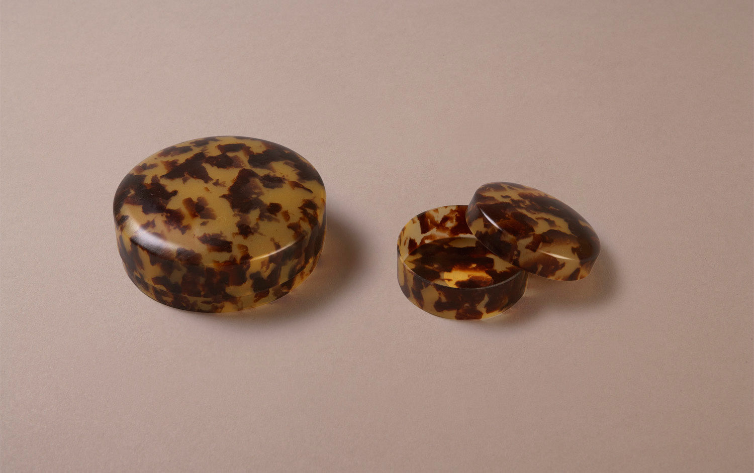 Tortoise Shell Celluloid Trinket Boxes, assorted shapes
