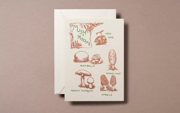 Letterpress Nature Mushrooms Greeting Card