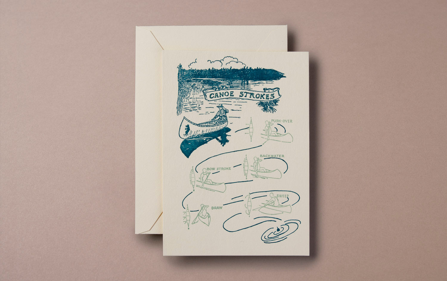 Letterpress Nature Canoe Greeting Card