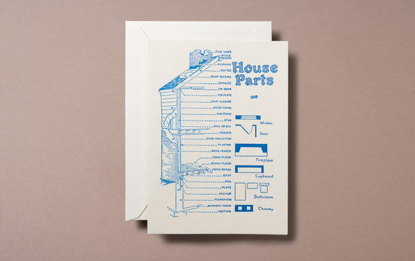 Letterpress Nature House Parts Greeting Card