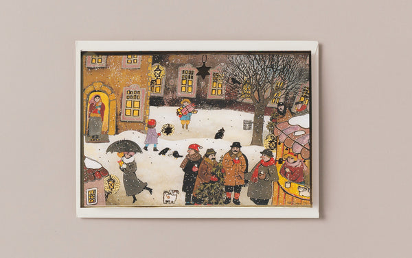 Gold Foiled Christmas Town Scene Card