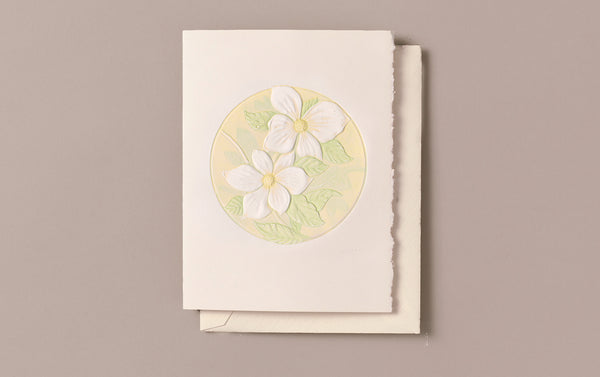 Hand engraved Pacific Dogwood Greeting Card