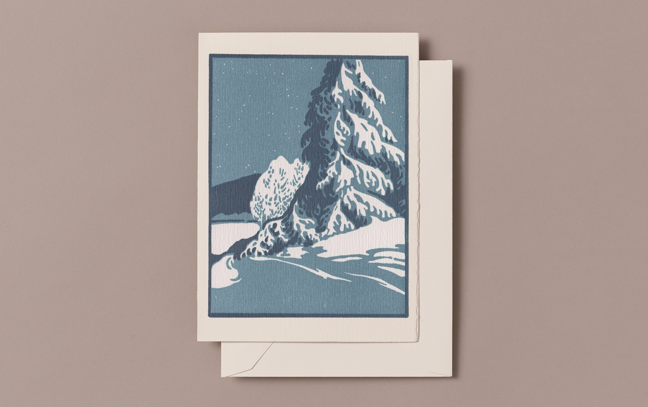 Letterpress Snow in the Night Christmas Card