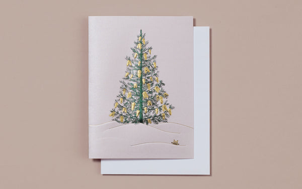 Engraved Pearlescent Christmas Tree Card