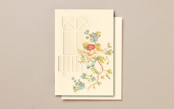 Cream Die-Cut Greeting Card, Floral Window