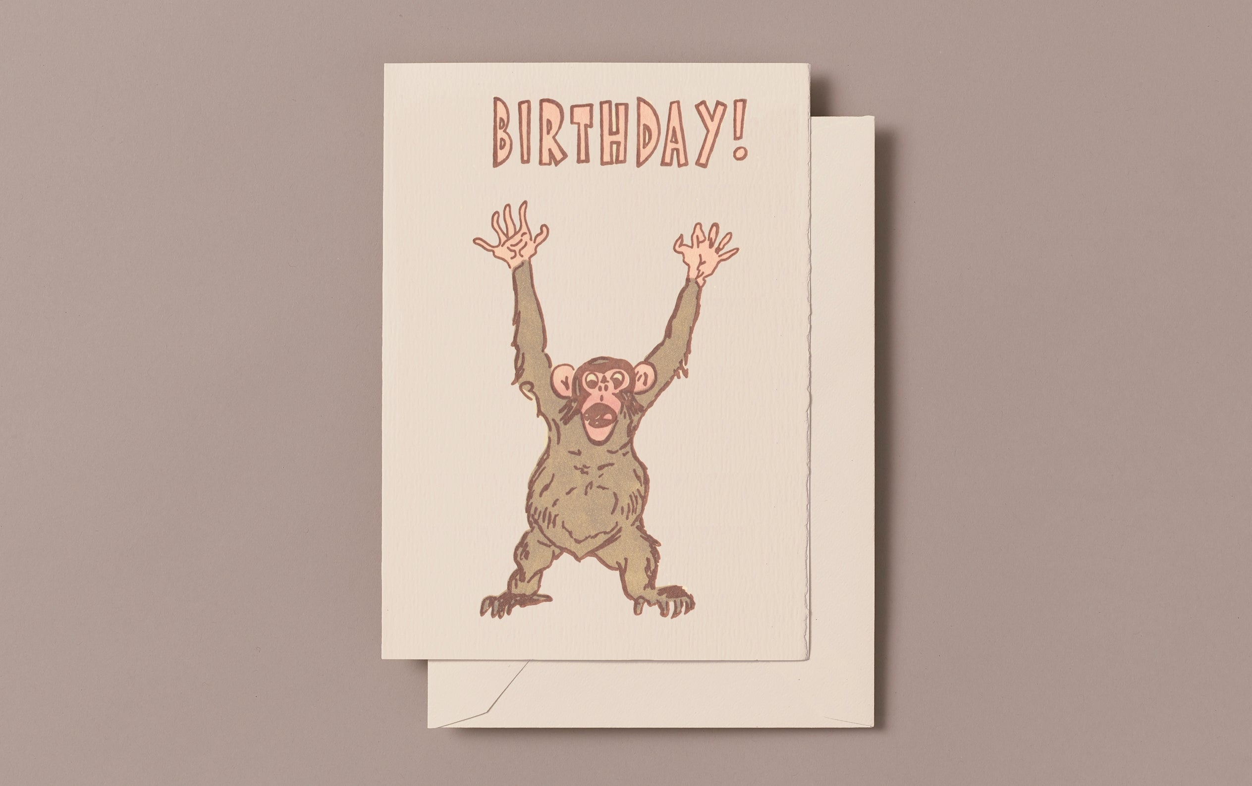 Letterpress Happy Ape Birthday Greeting Card