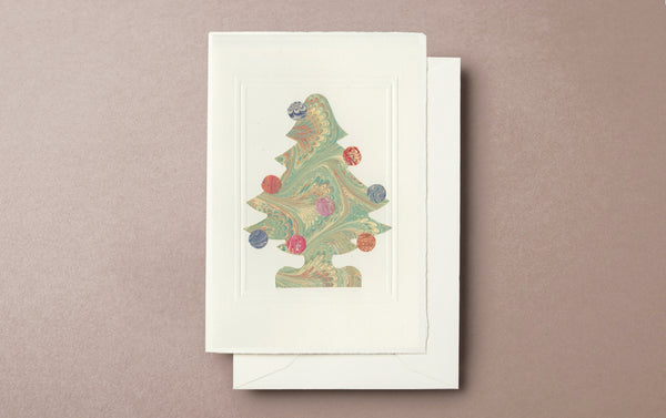Marbled Christmas Tree Card with baubles