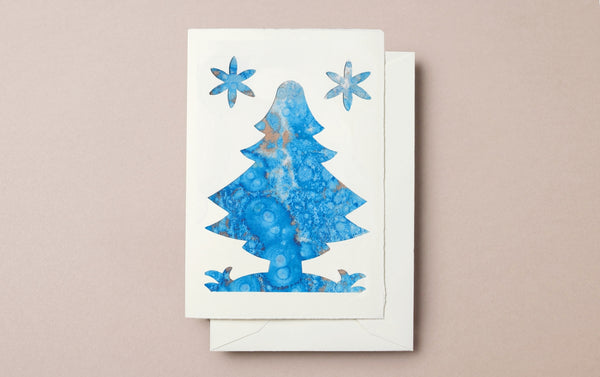 Marbled Christmas Tree Card