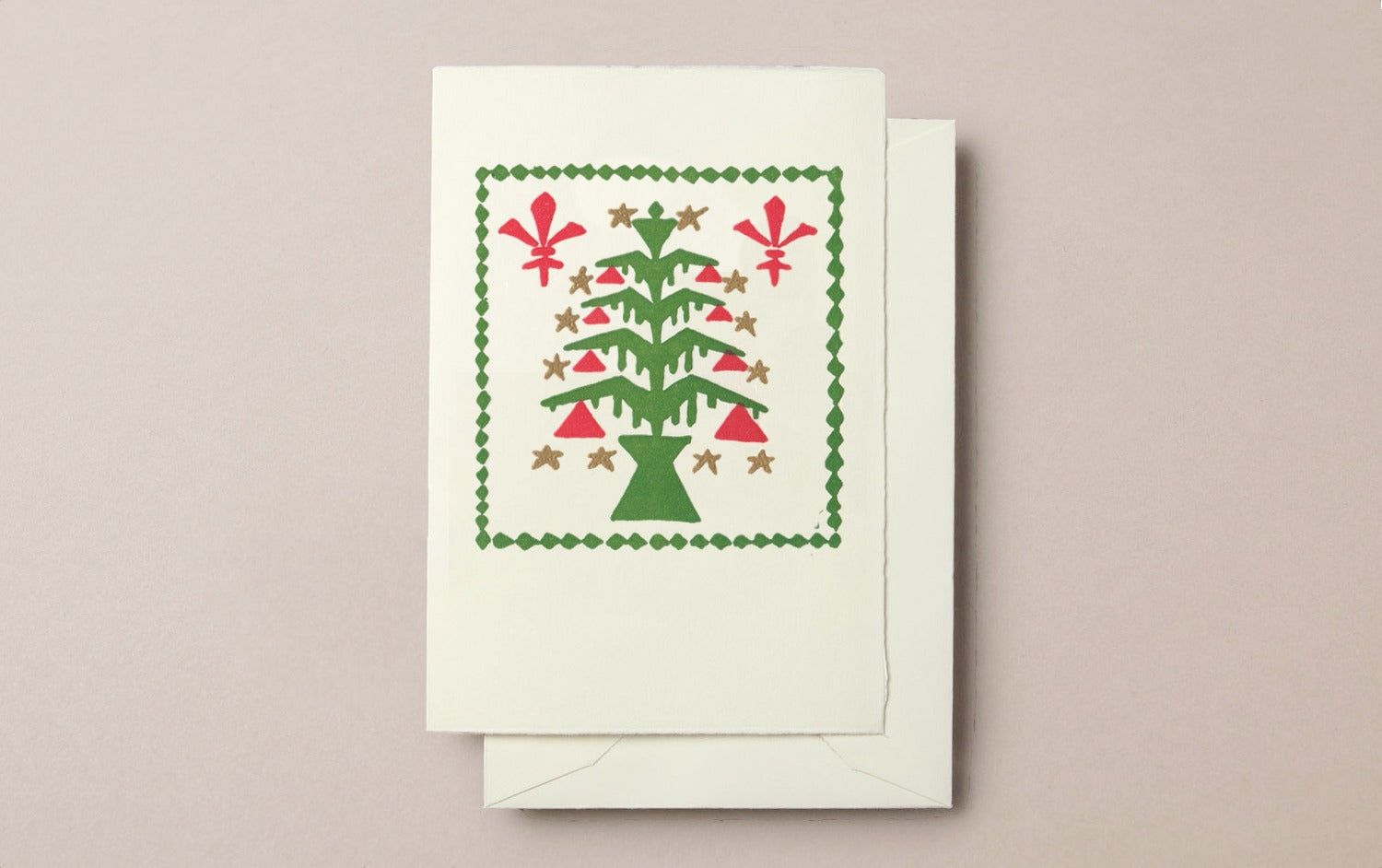 Handprinted Art Deco Tree Christmas Card, Pattern 2