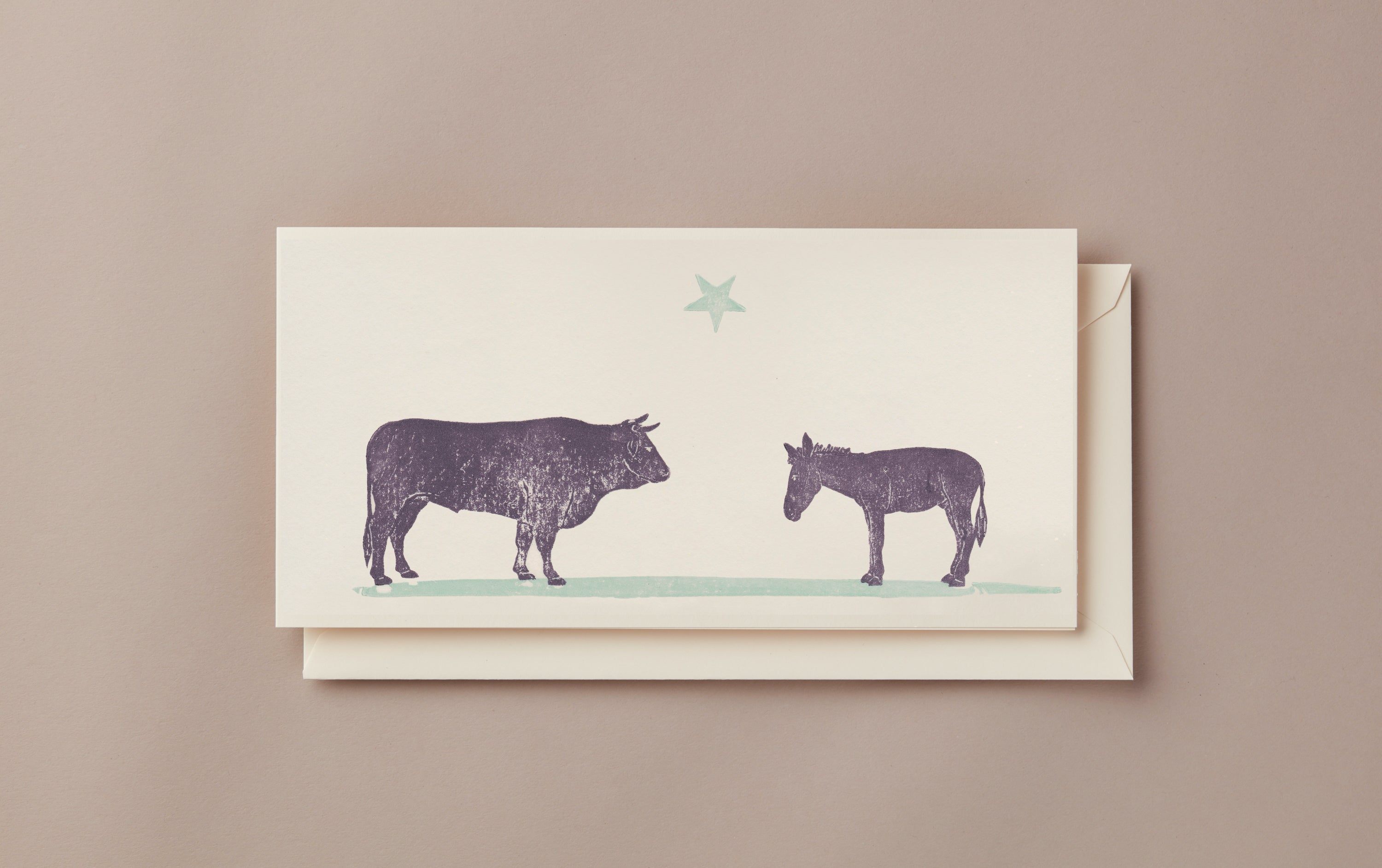 Woodblock Printed Winter Scene Card, Bull and Donkey