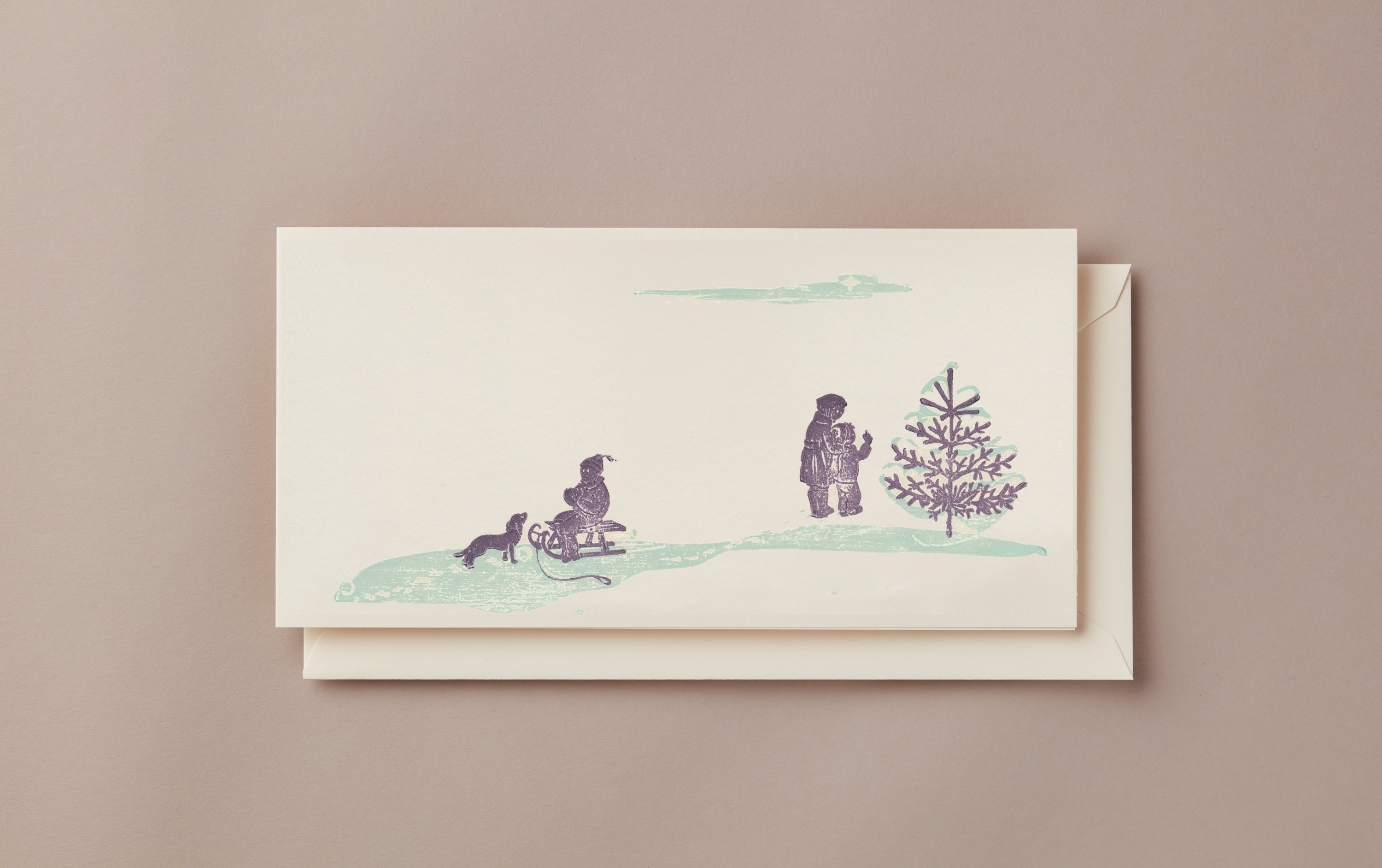 Woodblock Printed Winter Scene Card, Day Out