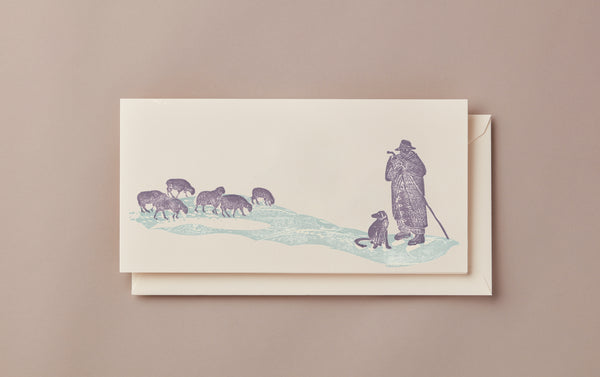 Woodblock Printed Winter Scene Card, shepherd