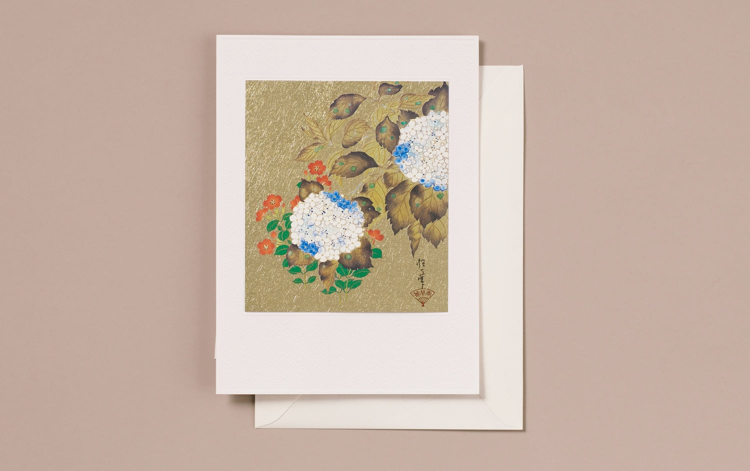 Gold Foil Japanese Hydrangea Greeting Card