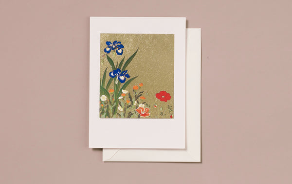 Gold Foil Blue Irises and Red Poppy Greeting Card