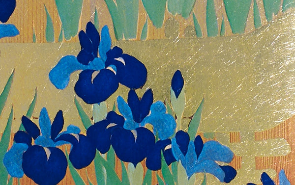 Gold Foil Blue Irises Greeting Card