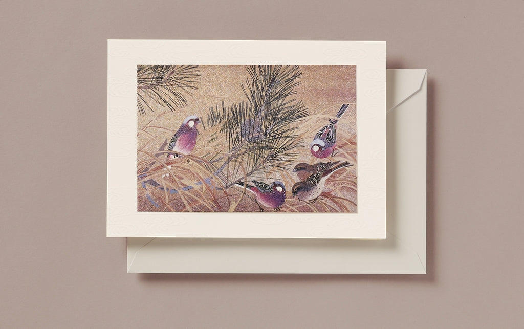Matte Gold Foil Partridge in Pine cone Christmas Card