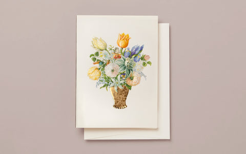 Still Life Bouquet Embossed Greeting Card