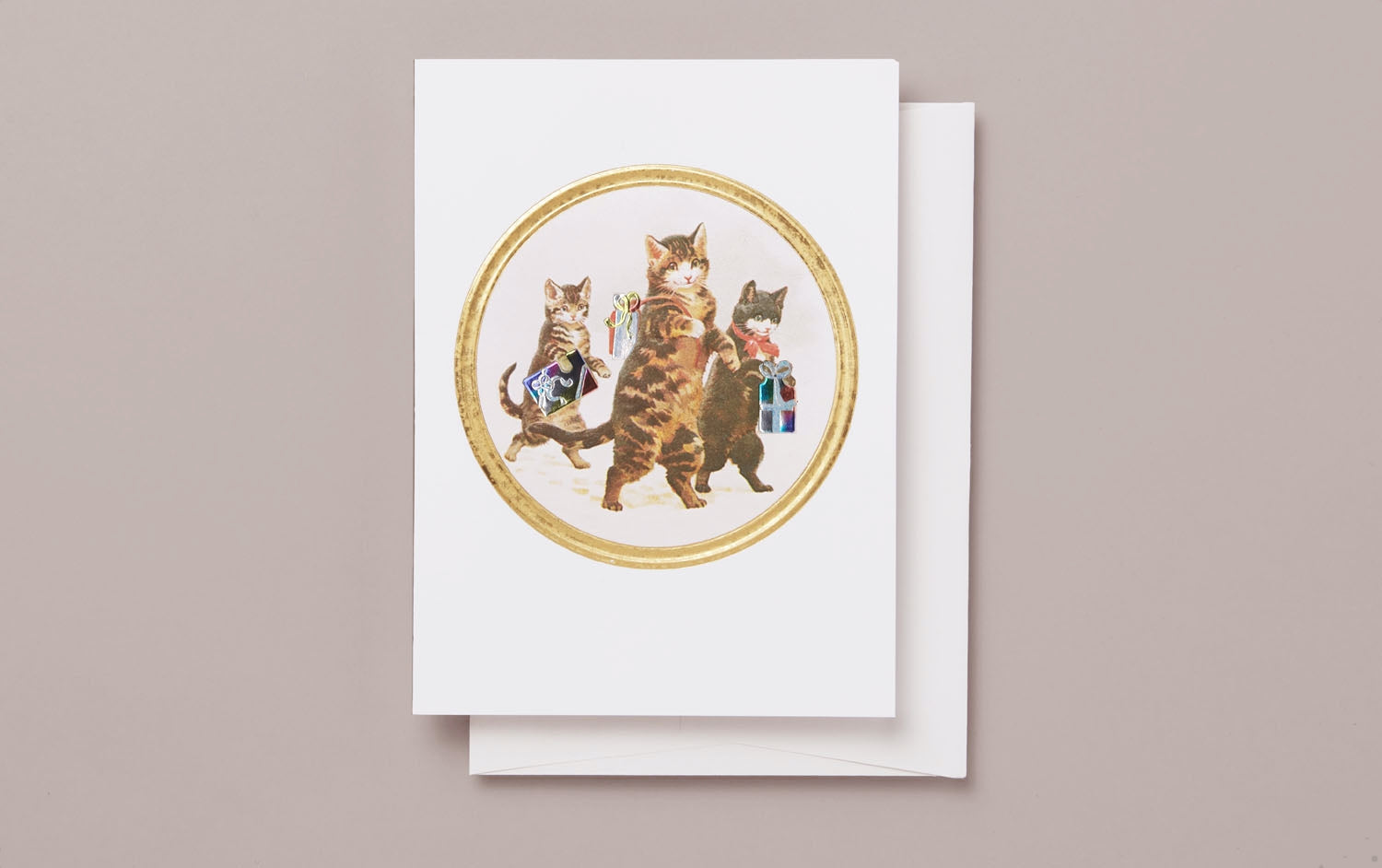 Birthday Cats Embossed Greeting Card