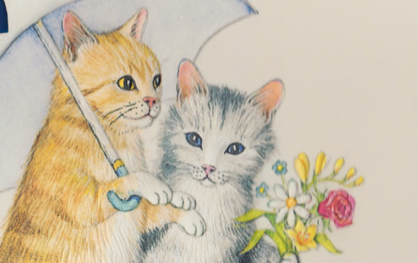 Engraved Love Cats Greeting Card