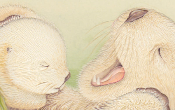 Engraved Otter Cuddles Greeting Card