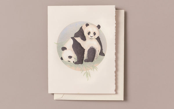 Hand engraved Panda Babies Greeting Card
