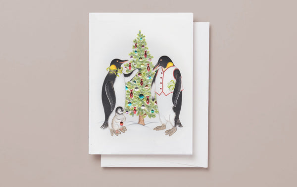 Emperor Penguins Engraved Christmas Card