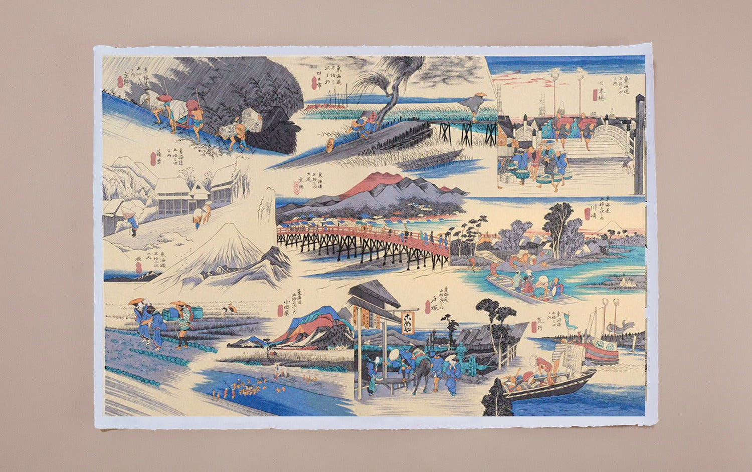 Full-Panel Chiyogami Silk Screen Print, 53 Stations of the Tōkaidō after Hiroshige