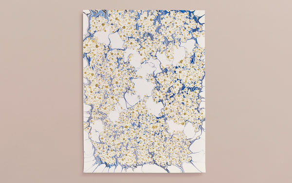 Hand Marbled Sheet No. 18 'Sunflowers'