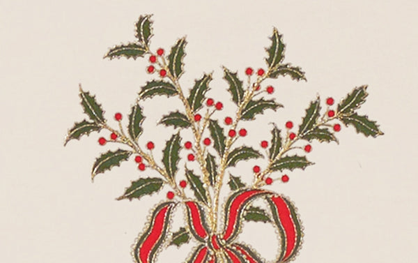Engraved Holly and Ribbon Christmas Card