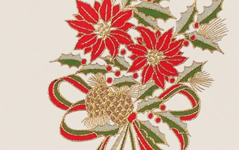 Engraved Poinsettia Christmas Card