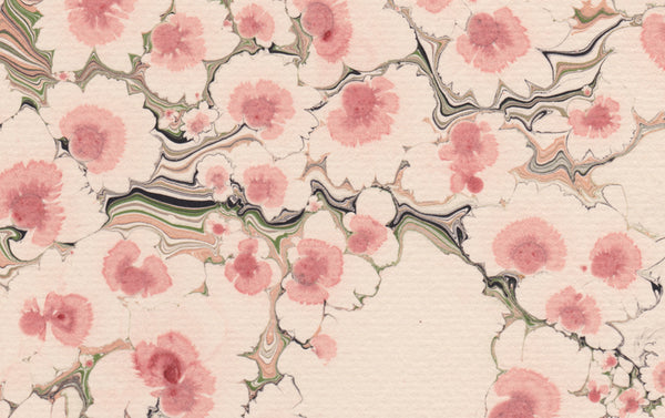 Hand Marbled Sheet No. 17 'Blossom Pink'