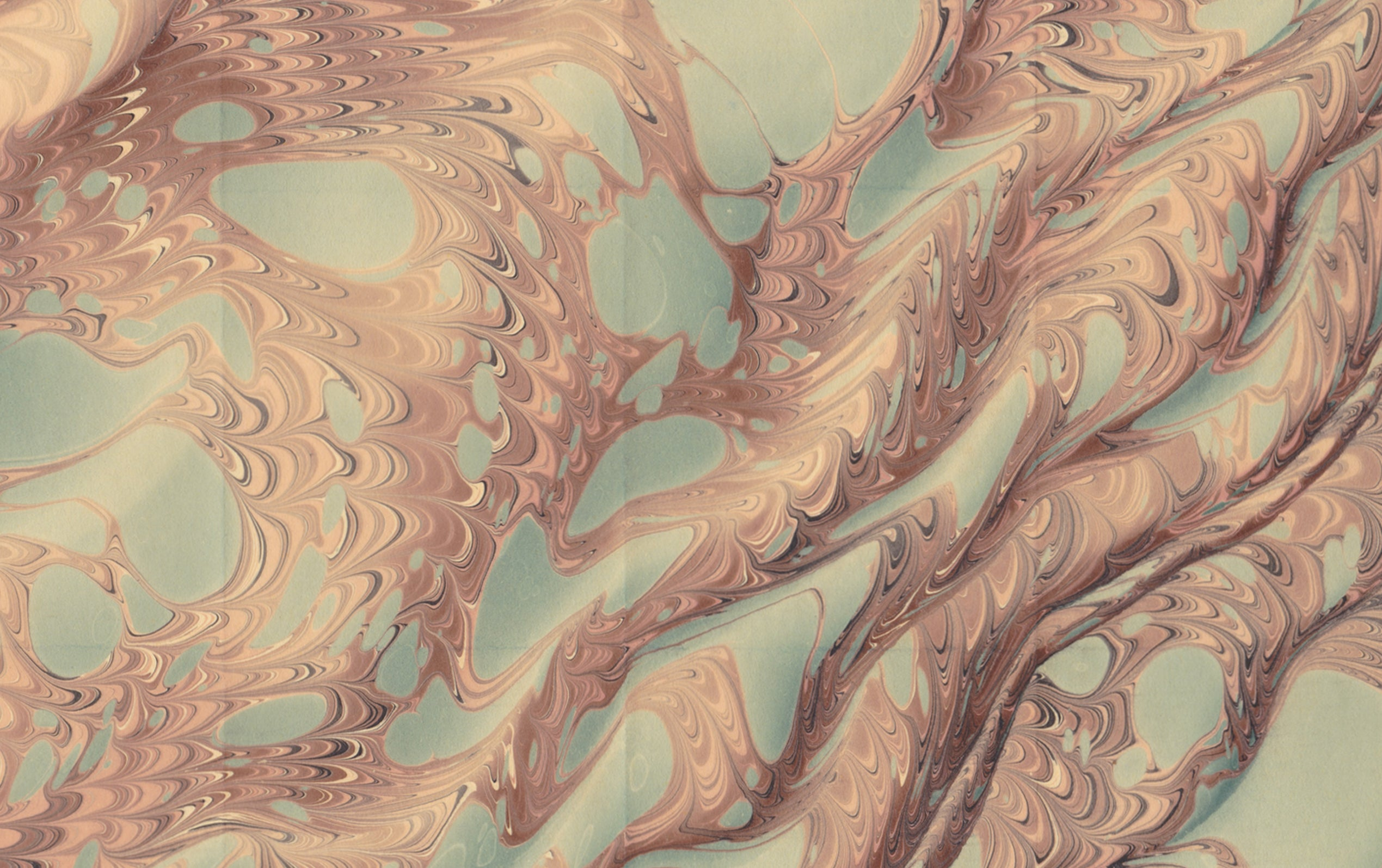 Hand Marbled Paper Sheet, Snake Moire